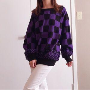 Vintage y2k purple checkered oversized sweater.